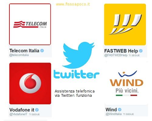 richiedi l'assistenza clienti con twitter