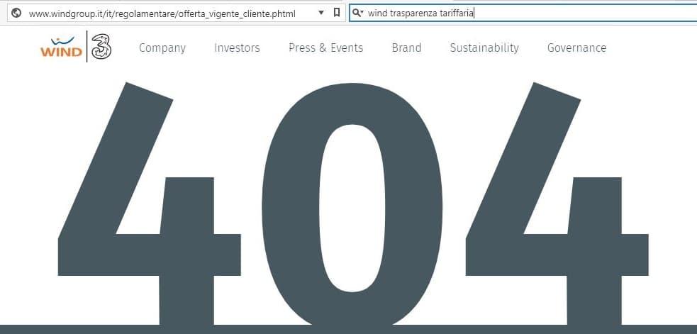 wind trasparenza tariffaria pagina non trovata