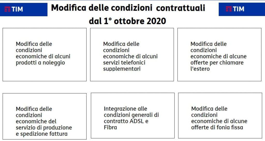 tim variazioni contrattuali dal 01 ottobre 2020